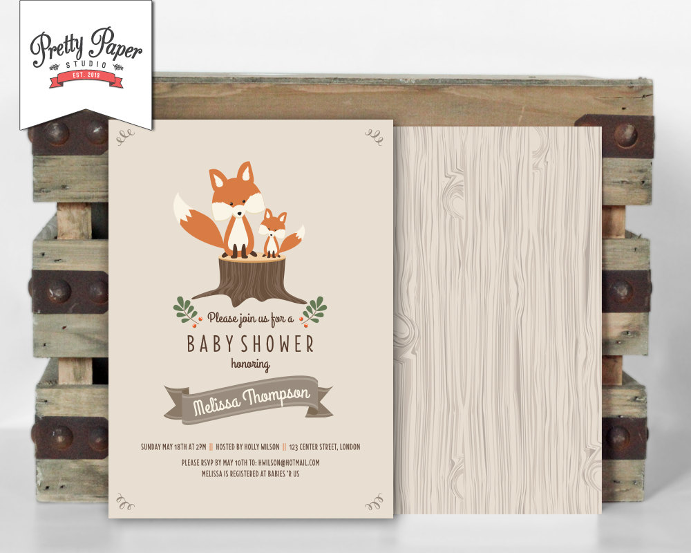 Woodland Baby Shower Invitation Pretty Paper Studio